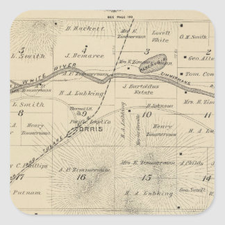 T24S R27E Tulare County Section Map Square Sticker
