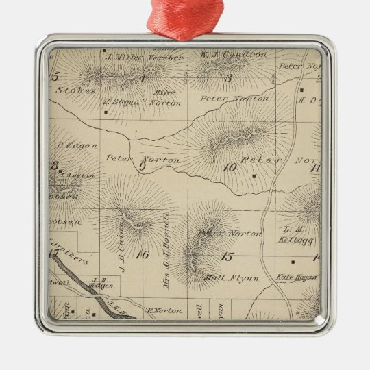 T24S R28E Tulare County Section Map Metal Ornament