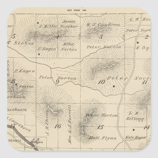 T24S R28E Tulare County Section Map Square Sticker