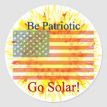 T27a sea patriótico va solar pegatina redonda