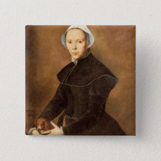 T28337 Portrait of a lady with a lapdog on a table Button