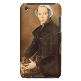 T28337 Portrait of a lady with a lapdog on a table Case-Mate iPod Touch Case