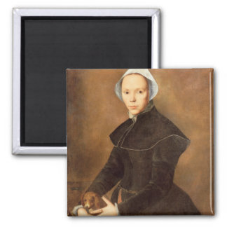 T28337 Portrait of a lady with a lapdog on a table Magnet