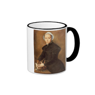 T28337 Portrait of a lady with a lapdog on a table Ringer Coffee Mug