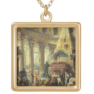 T28516 Alexander the Great visiting the Tomb of Ac Gold Plated Necklace
