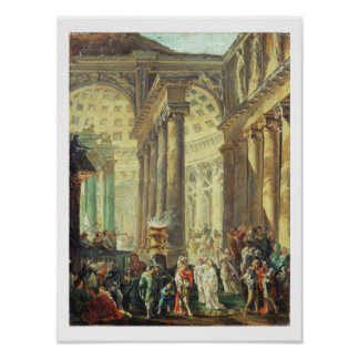T28517 Capriccio of a Roman temple with Alexander Poster