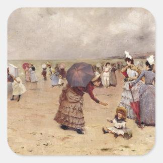 T29836 Elegant Figures on a Beach, 1886 Square Sticker