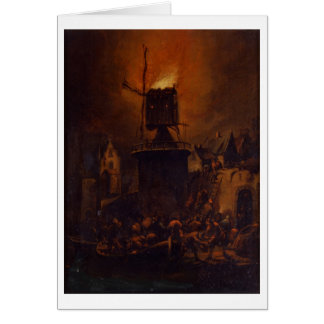 T30554A The Burning Windmill, 1662 (panel) Card