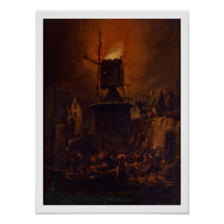 T30554A The Burning Windmill, 1662 (panel) Poster