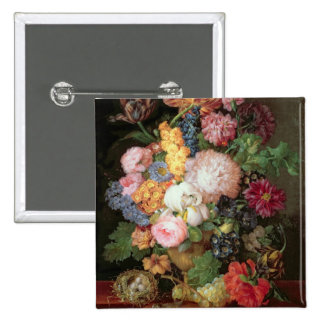 T30763 A Still Life of Flowers and Fruit (panel) 2 Inch Square Button