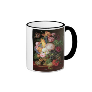T30763 A Still Life of Flowers and Fruit (panel) Ringer Coffee Mug