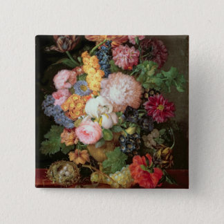 T30763 A Still Life of Flowers and Fruit (panel) Pinback Button
