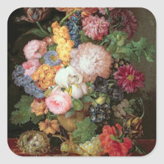 T30763 A Still Life of Flowers and Fruit (panel) Square Sticker