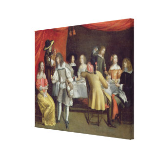 T30878 Elegant Company Dining Beneath a Red Canopy Canvas Print
