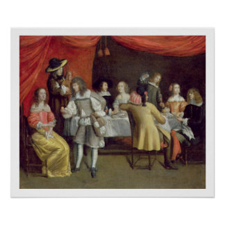 T30878 Elegant Company Dining Beneath a Red Canopy Poster