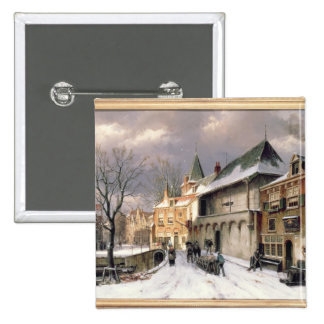 T31117 A View of a Dutch Town in Winter 2 Inch Square Button