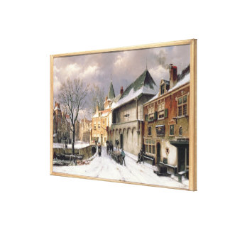 T31117 A View of a Dutch Town in Winter Canvas Print
