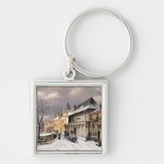 T31117 A View of a Dutch Town in Winter Keychain