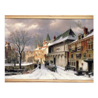 T31117 A View of a Dutch Town in Winter Postcard