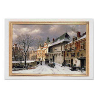 T31117 A View of a Dutch Town in Winter Poster