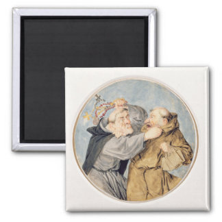 T31130 Two Monks Fighting, 1690 (w/c, ink, chalk) Magnet