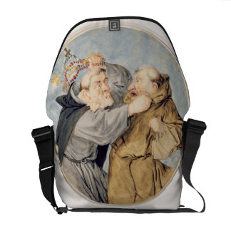 T31130 Two Monks Fighting, 1690 (w/c, ink, chalk) Messenger Bags