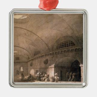 T31459 A Prison Scene, 1794 (pen & ink, wash, chal Square Metal Christmas Ornament