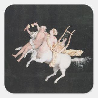 T31466 A Female Centaur and Companion Making Music Square Sticker