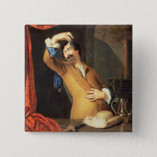 T31553 A Cavalier Standing at a Window Examining a Button
