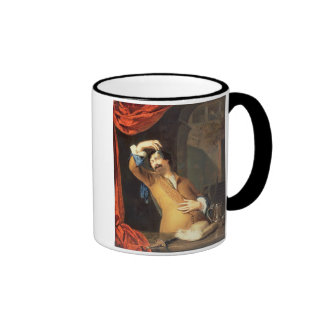 T31553 A Cavalier Standing at a Window Examining a Coffee Mugs