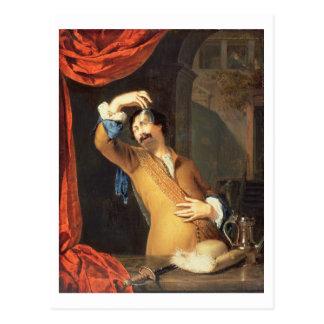 T31553 un caballero que se coloca en una ventana q postales