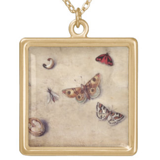 T31566 A Study of Various Insects, Fruit and Anima Square Pendant Necklace