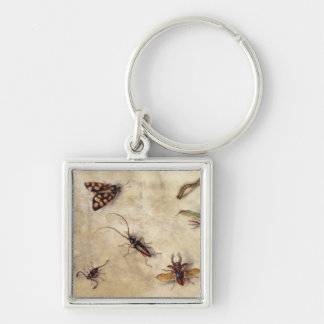T31567 A Study of Various Insects, Fruit and Anima Silver-Colored Square Keychain