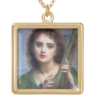 T31601 A Lady with Lyre (panel) Gold Plated Necklace