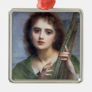 T31601 A Lady with Lyre (panel) Metal Ornament