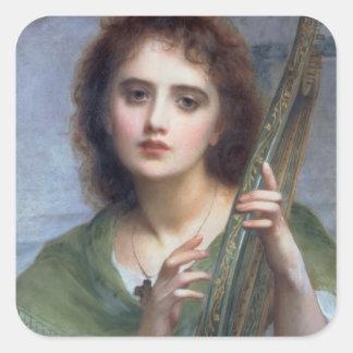 T31601 una señora con el Lyre (el panel) Pegatina Cuadrada
