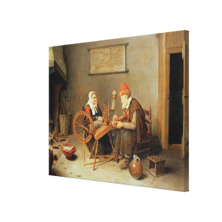 T31883 An interior with a old woman at a spinning Canvas Print