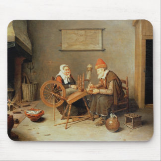 T31883 An interior with a old woman at a spinning Mouse Pad