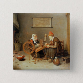 T31883 An interior with a old woman at a spinning Pinback Button