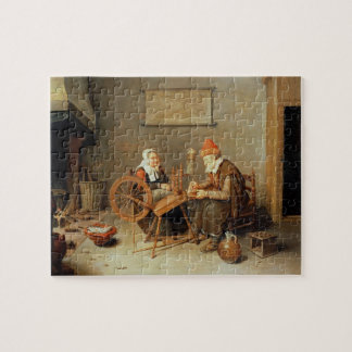 T31883 An interior with a old woman at a spinning Puzzle