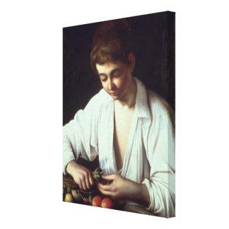T31971 A Young Boy Peeling an Apple Canvas Print