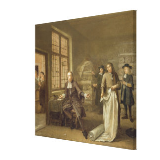 T32334 The Buyer at the Clothes Merchant's, 1690 Canvas Print