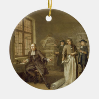 T32334 The Buyer at the Clothes Merchant's, 1690 Ceramic Ornament