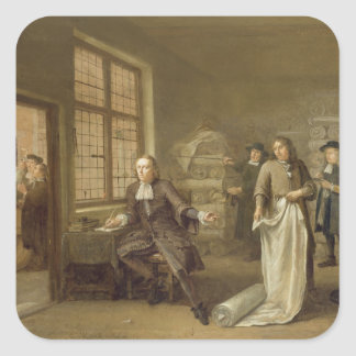 T32334 The Buyer at the Clothes Merchant's, 1690 Square Sticker