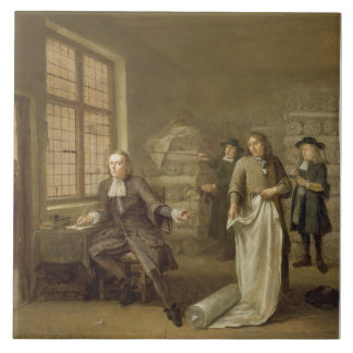 T32334 The Buyer at the Clothes Merchant's, 1690 Tile
