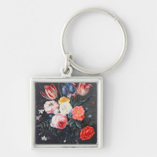T32511 Still Life of Flowers in a Vase, 1661 (see Silver-Colored Square Keychain