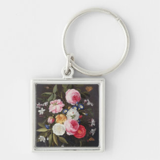 T32512 Still Life of Flowers in a Vase, 1661 (see Silver-Colored Square Keychain