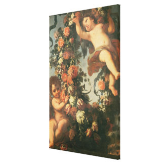 T32714 Two Putti Supporting a Flower Garland Canvas Print