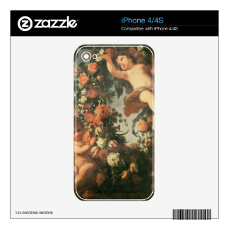 T32714 Two Putti Supporting a Flower Garland Decals For The iPhone 4S