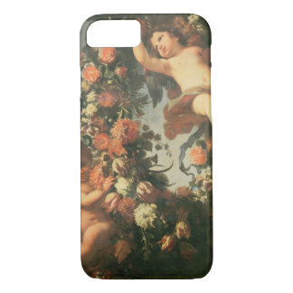 T32714 Two Putti Supporting a Flower Garland iPhone 7 Case